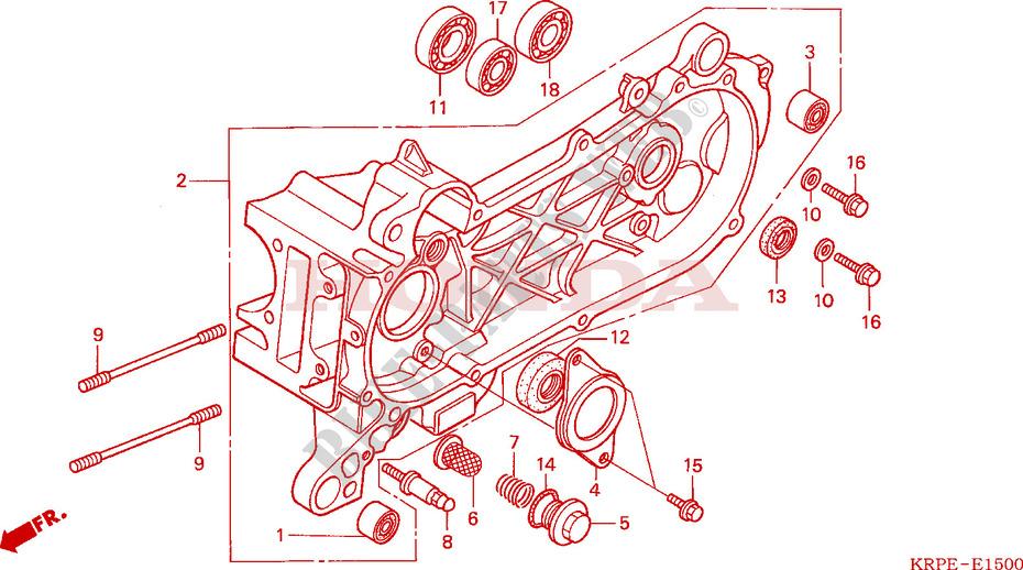 Cassa Manovella Sinistra Motore Scv100f5 2005 Lead 100 Scooter Honda