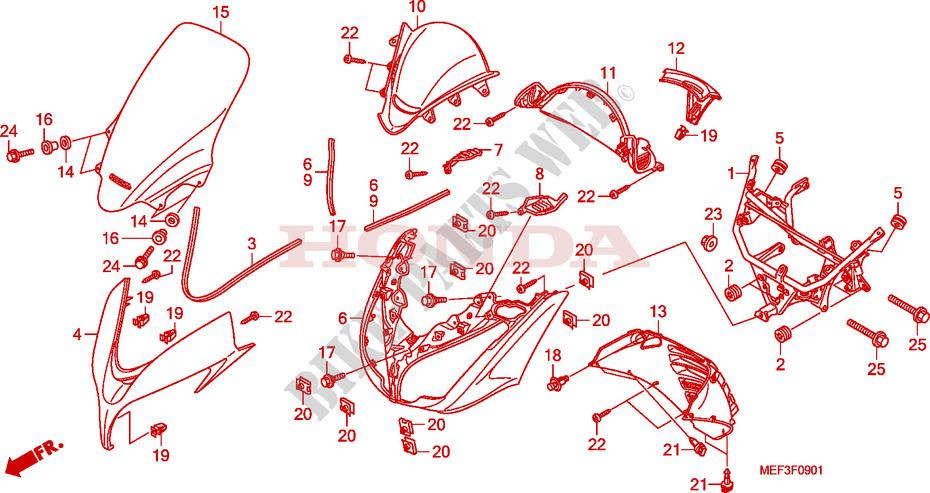 Copertura Anteriore Fjs400d9  Fjs400a  Per Honda Silver